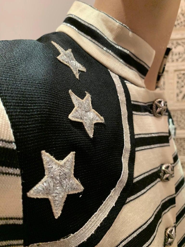 1960s Paraphernalia Nautical-Inspired Lurex Knit Mini Dress W/ Star Shoulders For Sale 8