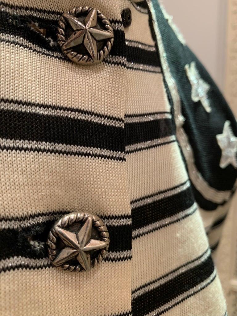 1960s Paraphernalia Nautical-Inspired Lurex Knit Mini Dress W/ Star Shoulders For Sale 9