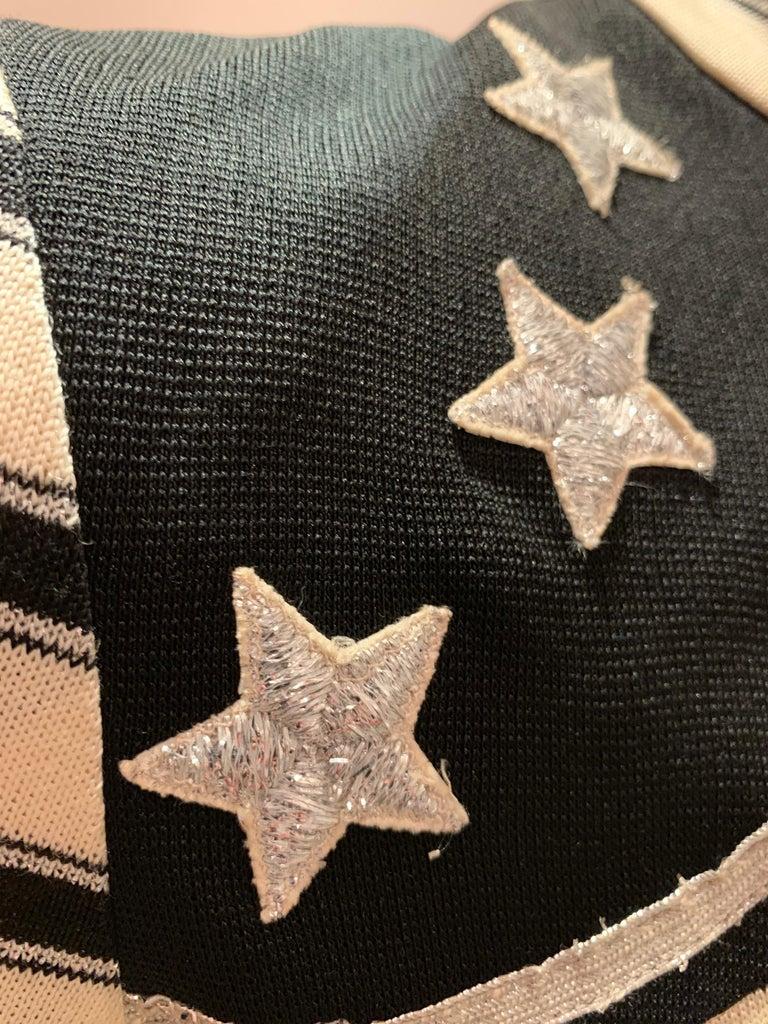 1960s Paraphernalia Nautical-Inspired Lurex Knit Mini Dress W/ Star Shoulders For Sale 10
