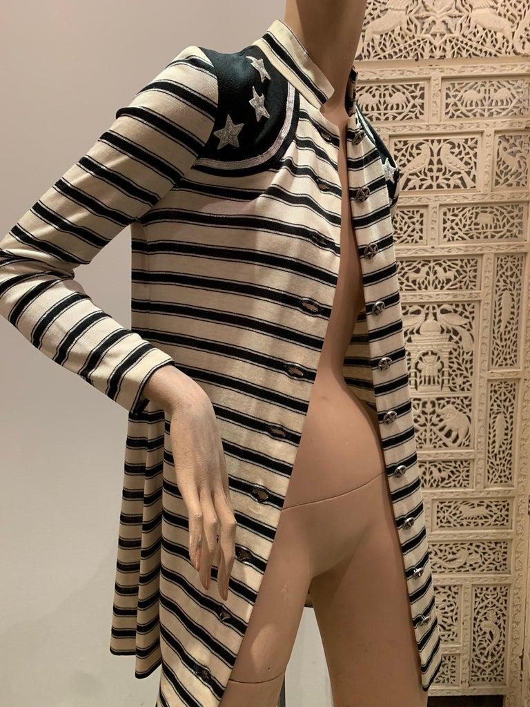 1960s Paraphernalia Nautical-Inspired Lurex Knit Mini Dress W/ Star Shoulders For Sale 12