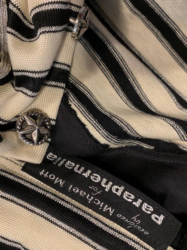 1960s Paraphernalia Nautical-Inspired Lurex Knit Mini Dress W/ Star Shoulders For Sale 14