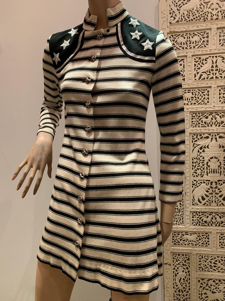1960s Paraphernalia by Michael Mott - A sassy nautical-inspired lurex and rayon knit mini dress in stripes with silver star appliques at shoulder.  Silver star buttons all the way down the front.  Stand-up tab collar.