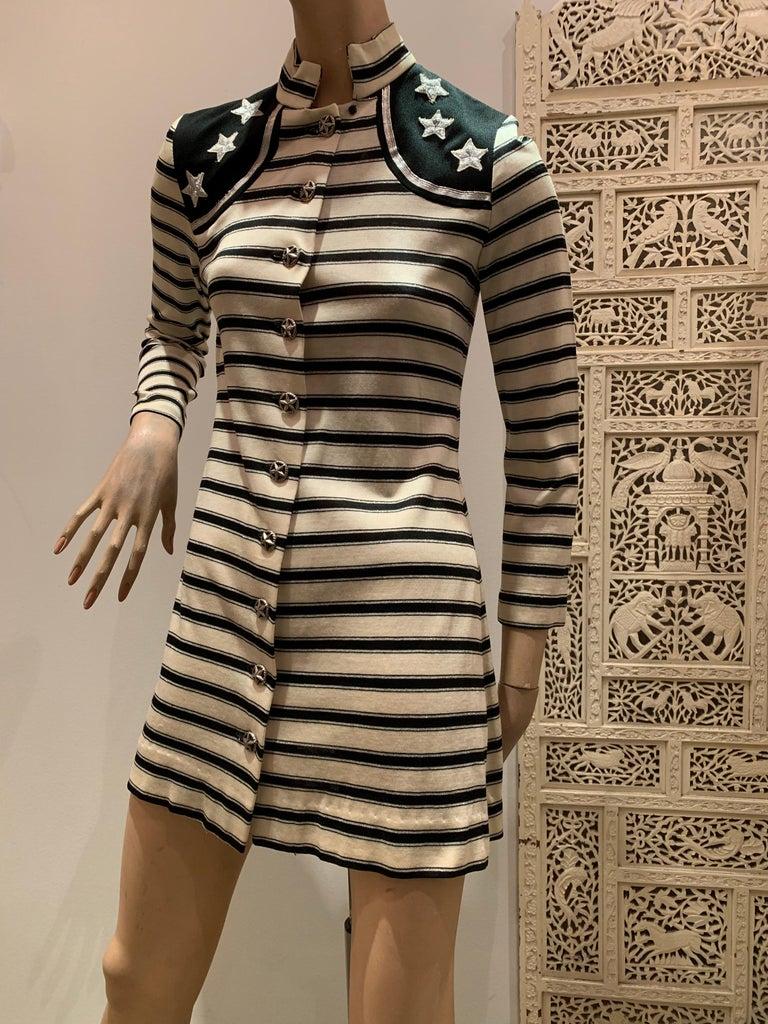 Black 1960s Paraphernalia Nautical-Inspired Lurex Knit Mini Dress W/ Star Shoulders For Sale