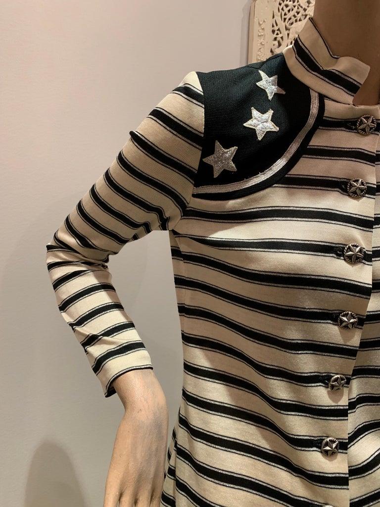 Women's 1960s Paraphernalia Nautical-Inspired Lurex Knit Mini Dress W/ Star Shoulders For Sale