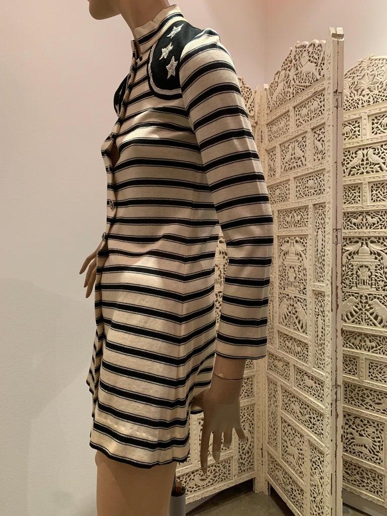 1960s Paraphernalia Nautical-Inspired Lurex Knit Mini Dress W/ Star Shoulders For Sale 1
