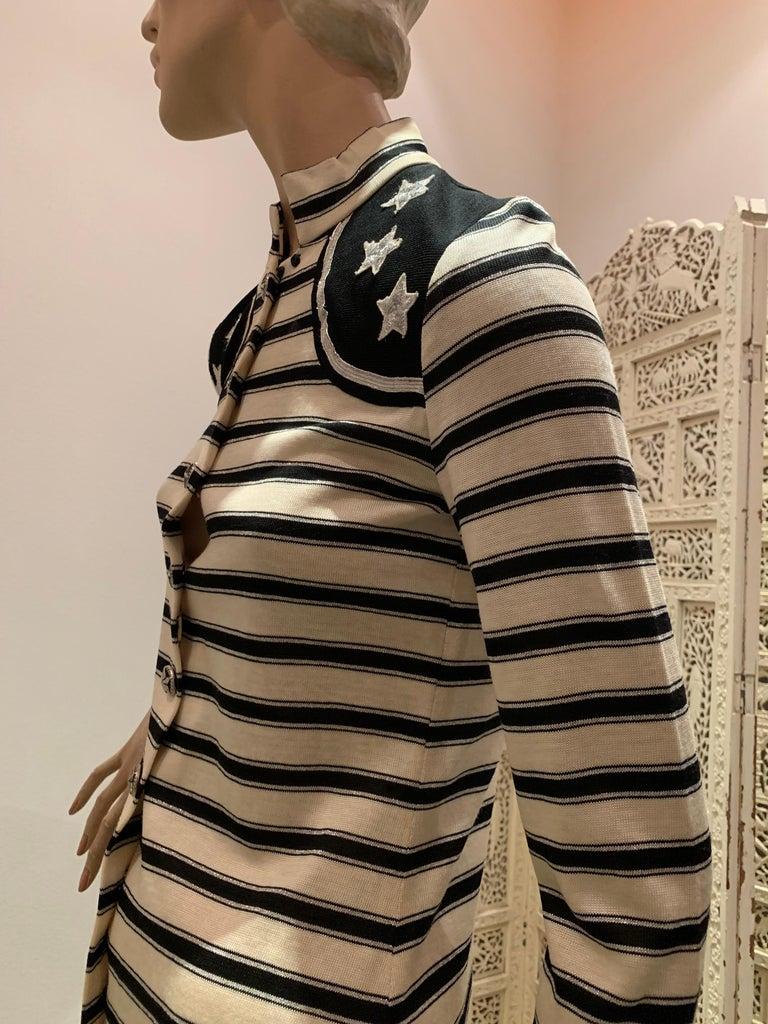 1960s Paraphernalia Nautical-Inspired Lurex Knit Mini Dress W/ Star Shoulders For Sale 2