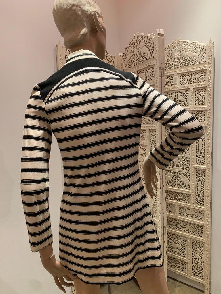1960s Paraphernalia Nautical-Inspired Lurex Knit Mini Dress W/ Star Shoulders For Sale 3