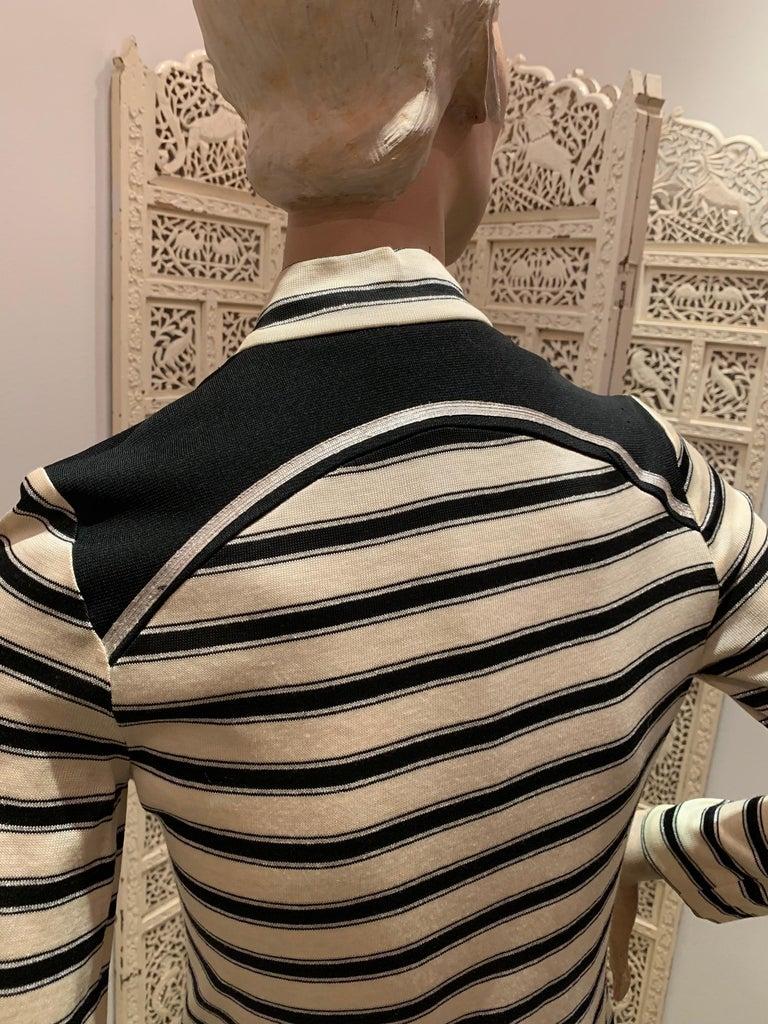 1960s Paraphernalia Nautical-Inspired Lurex Knit Mini Dress W/ Star Shoulders For Sale 4