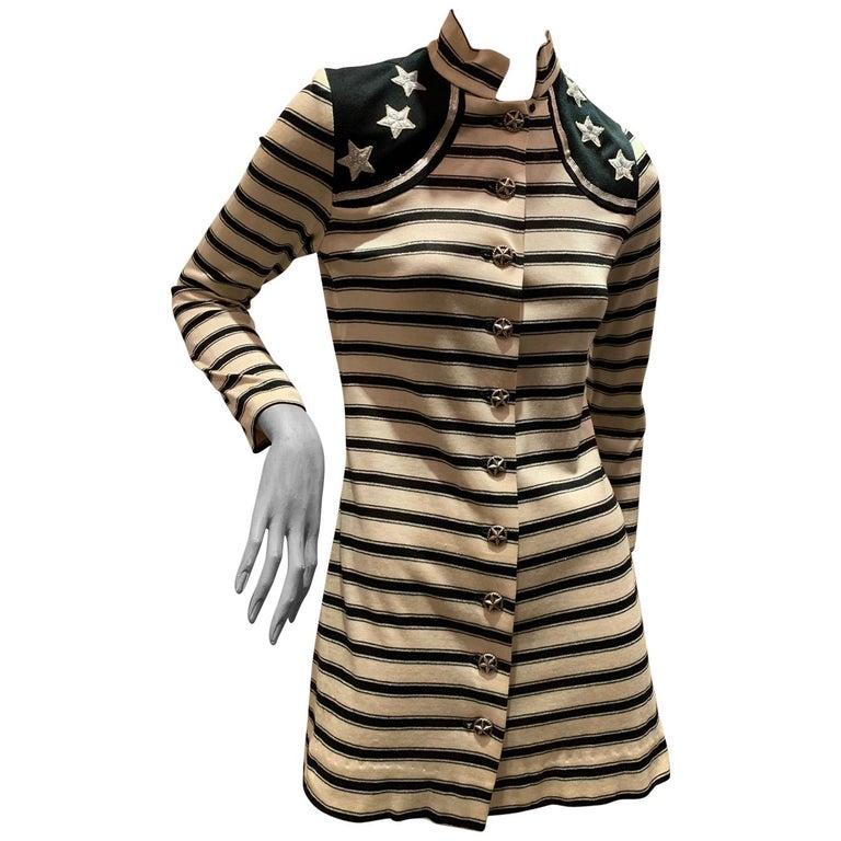 1960s Paraphernalia Nautical-Inspired Lurex Knit Mini Dress W/ Star Shoulders For Sale