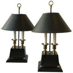 1960s Parzinger Style Brass and Black Wood Lamps