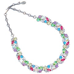 1960s Pastel Crystal Rhinestone Fruit Salad Cocktail Choker Necklace By Lisner