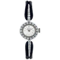 1960s Patek Philippe Platinum Floating Diamond Bar Motif Bracelet Watch