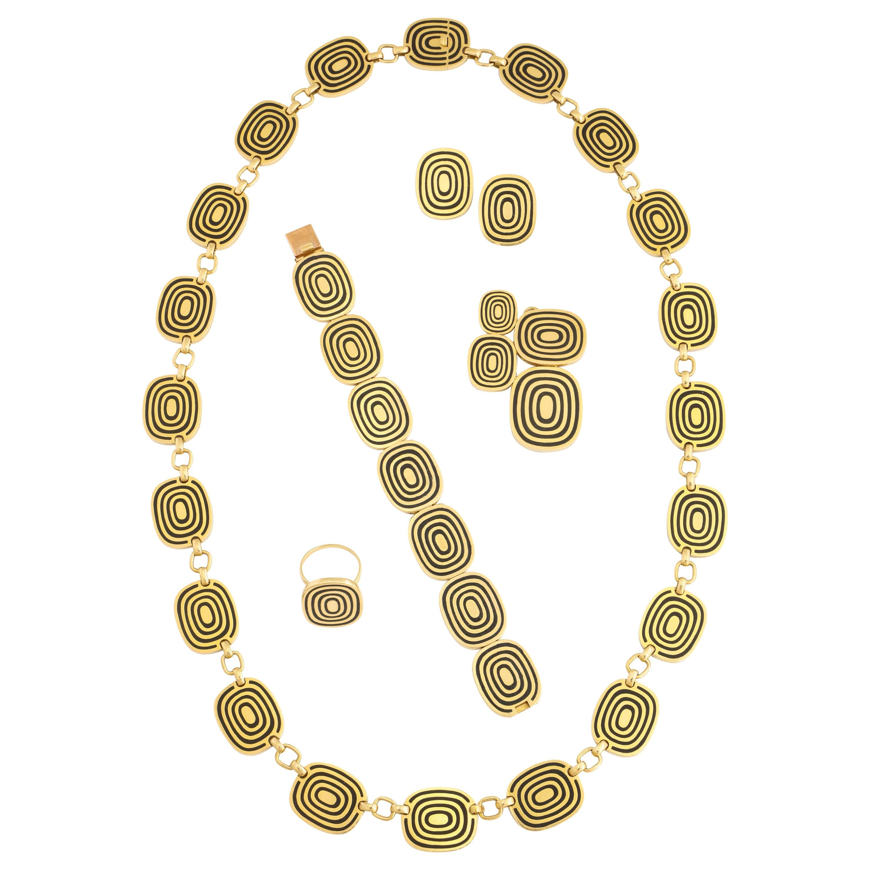 1960s Patek Phillipe Five Piece Modernist Gold Enamel Jewelry Suite