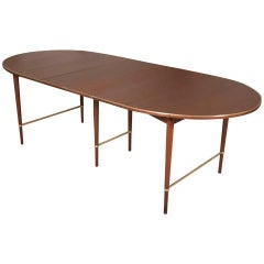 1960s Paul McCobb Connoisseur Walnut and Brass Extendable Dining Table