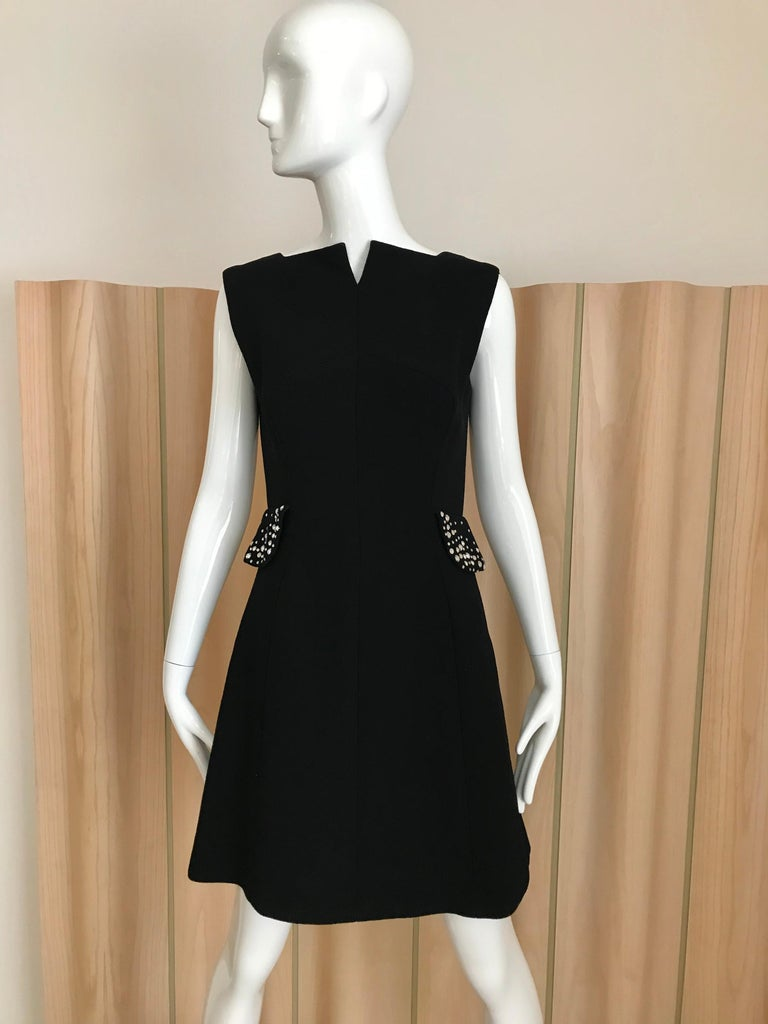 Vintage Pauline Trigere Black Crepe two piece sleeveless dress and coat with rhinestones.