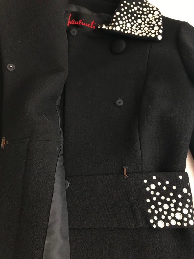 1960s Pauline Trigere Black Crepe Sleeveless Dress and Coat  For Sale 1