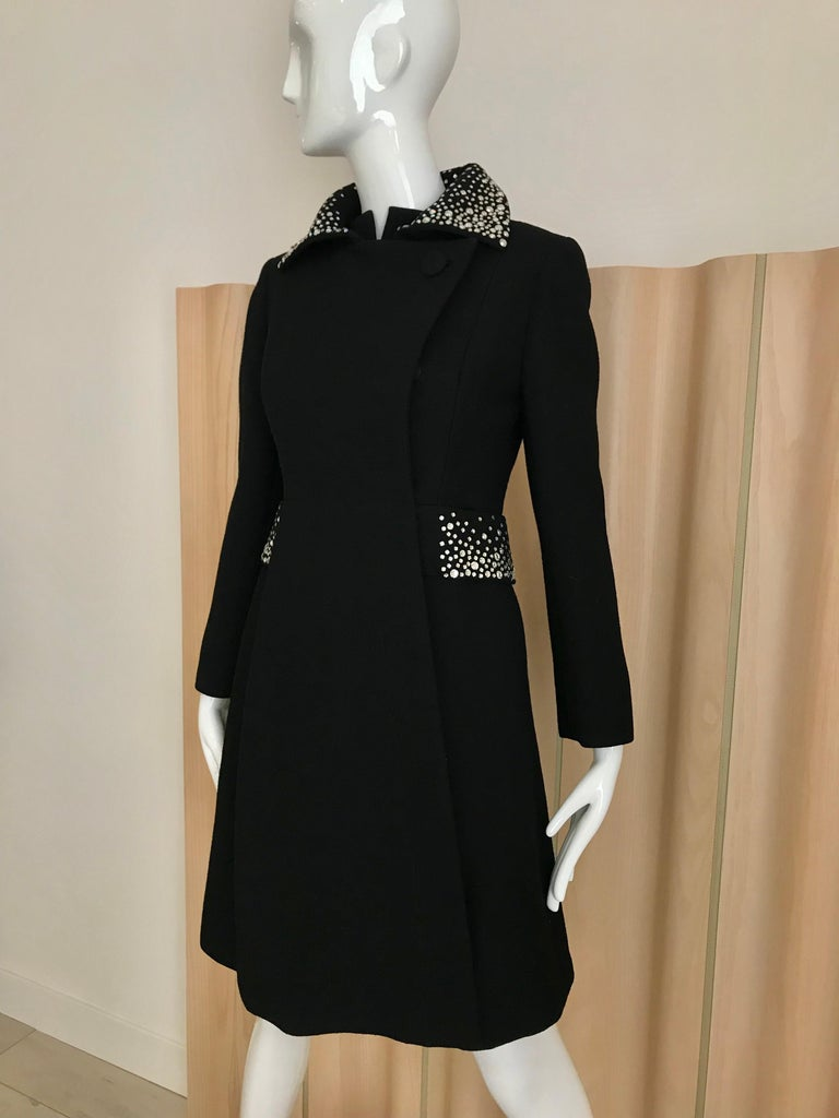 1960s Pauline Trigere Black Crepe Sleeveless Dress and Coat  For Sale 3