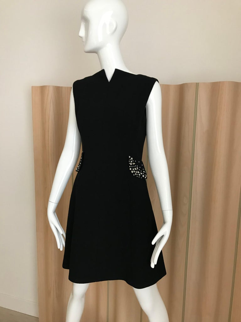 1960s Pauline Trigere Black Crepe Sleeveless Dress and Coat  For Sale 4