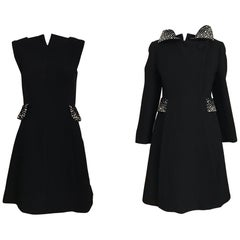 1960s Pauline Trigere Black Crepe Sleeveless Dress and Coat