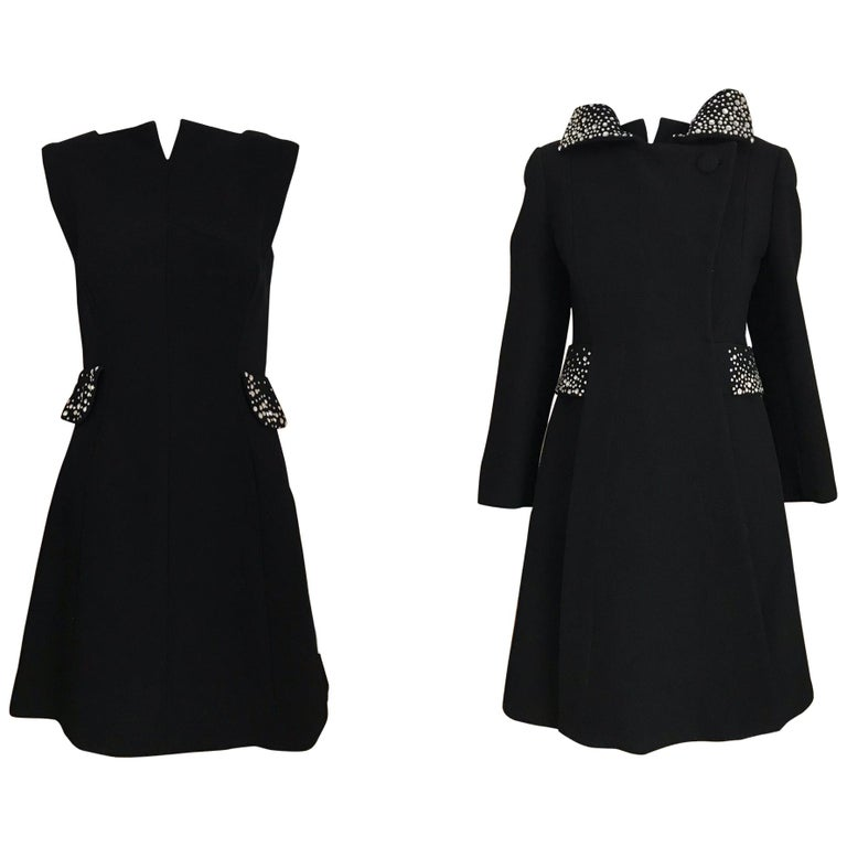 1960s Pauline Trigere Black Crepe Sleeveless Dress and Coat  For Sale