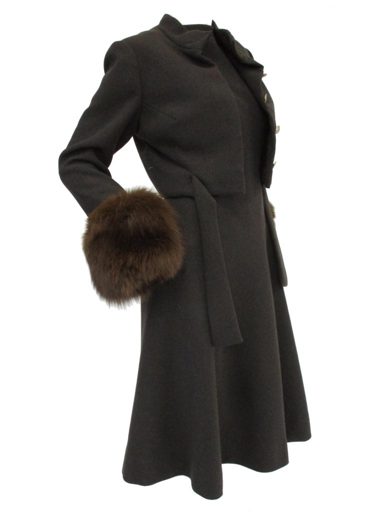 1960s Pauline Trigere Grey Wool Suit with Fox Fur Cuff & Rhinestone Details For Sale 3