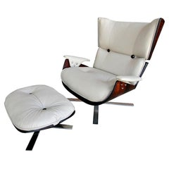 1960s Paulistana Brazilian Armchair and Ottoman by Zalszupin in Beige Leather