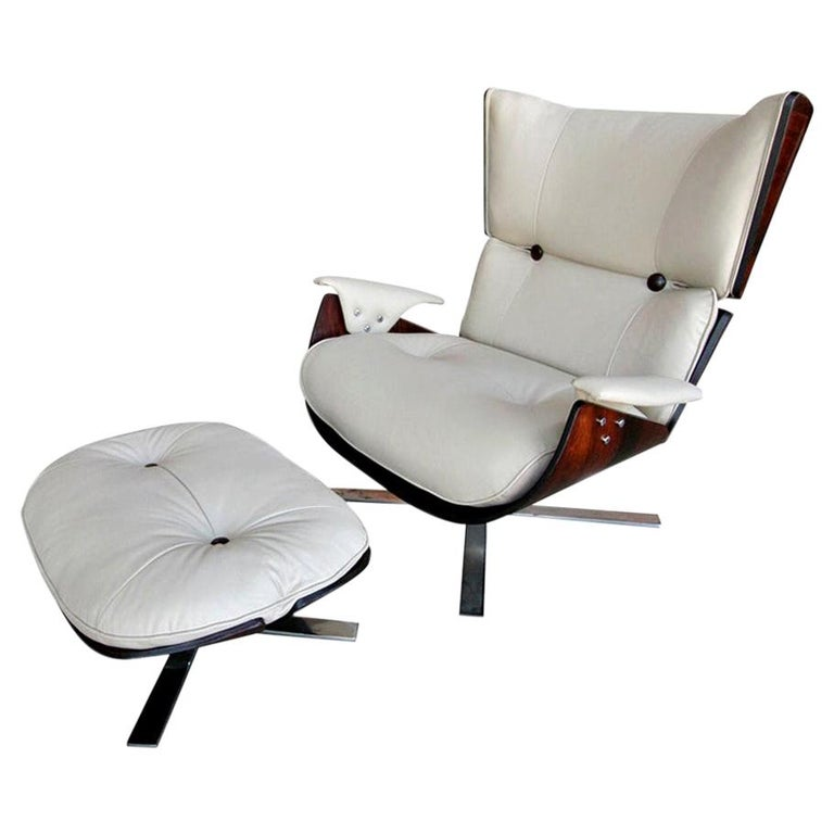 1960s Paulistana Brazilian Armchair and Ottoman by Zalszupin in Beige Leather For Sale