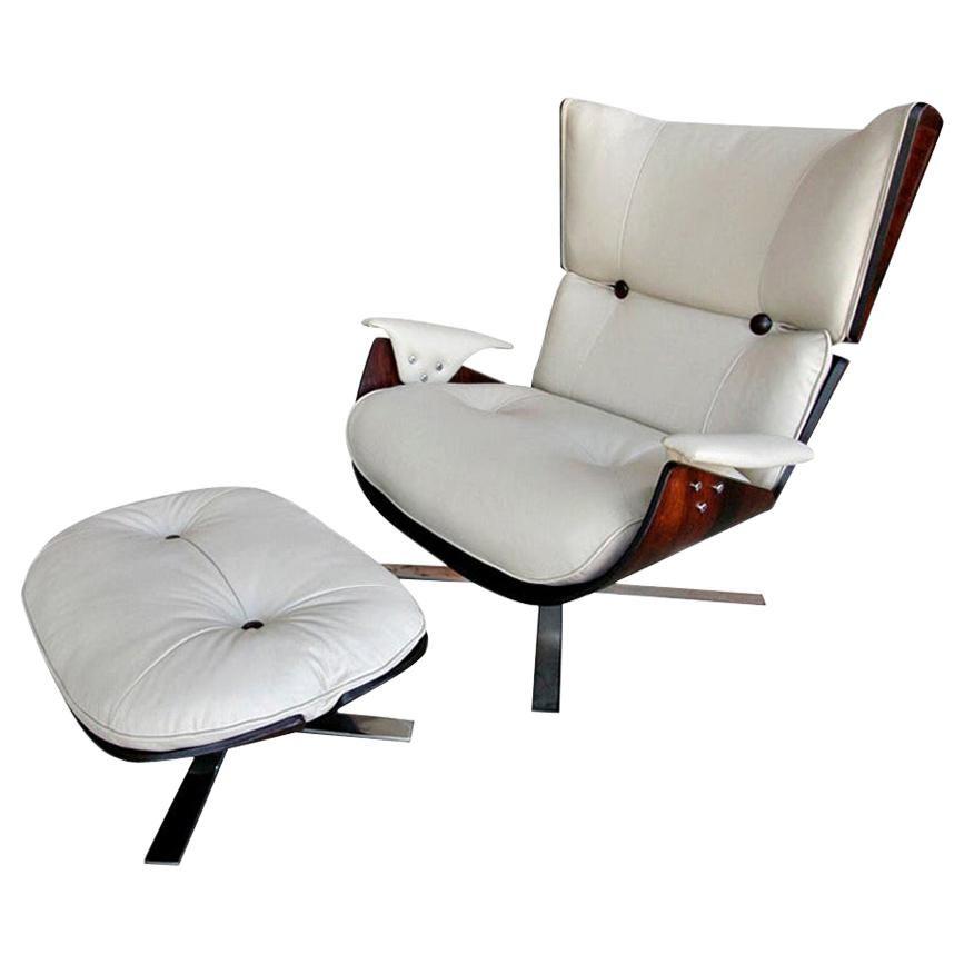 1960s Paulistana Brazilian Armchair and Ottoman by Zalszupin in Beige Leather