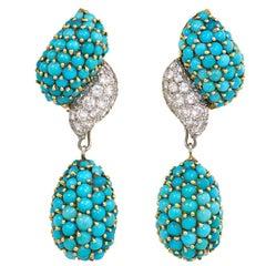 1960s Pavé Turquoise and Diamond Pendant Earrings