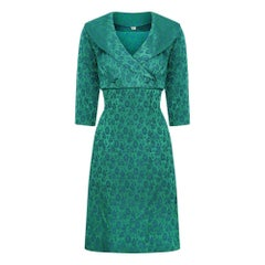 1960s Peacock Blue and Green Jacquard Dress Suit