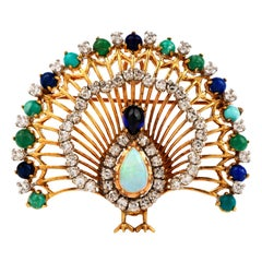 1960s Peacock Diamond Opal Multi-Gem 18 Karat Gold Brooch Pendant Enhancer