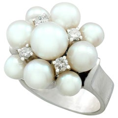 1960s Pearl and Diamond White Gold Cocktail Ring