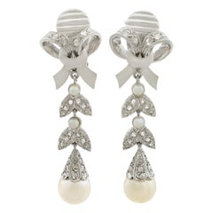 1960s Pearl and Diamond White Gold Drop Earrings