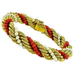 1960s Pearl Coral Gold Bracelet