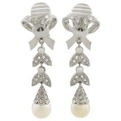 1960s Pearl Diamond White Gold Drop Earrings