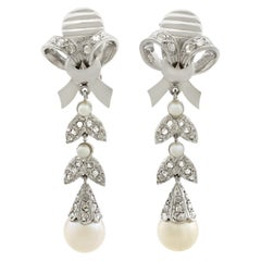 1960s Pearl Diamond White Gold Drop Earrings