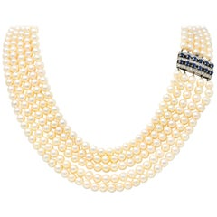 1960s Pearl Sapphire 18 Karat White Gold Five Strand Necklace