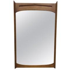 1960s Pecan Wood Wall Mirror