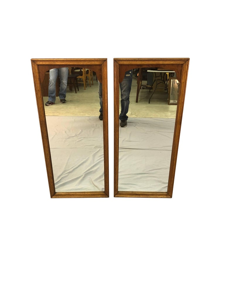 wood wall mirrors. Vintage 1960s Pair Of Pecan Wood Wall Mirrors. The Mirrors Are In Newly Refinished Condition