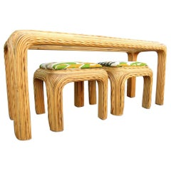 1960s Pencil Reed Rattan Console Table and Stools Gabriella Crespi Style