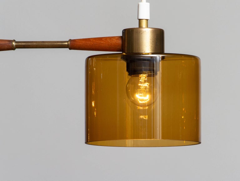 Swedish 1960's Pendant with Amber Glass Shades by Carl Fagerlund for Orrefors Sweden For Sale