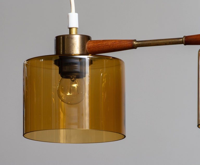 1960's Pendant with Amber Glass Shades by Carl Fagerlund for Orrefors Sweden In Good Condition For Sale In Silvolde, Gelderland