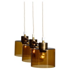 1960's Pendant with Amber Glass Shades by Carl Fagerlund for Orrefors Sweden