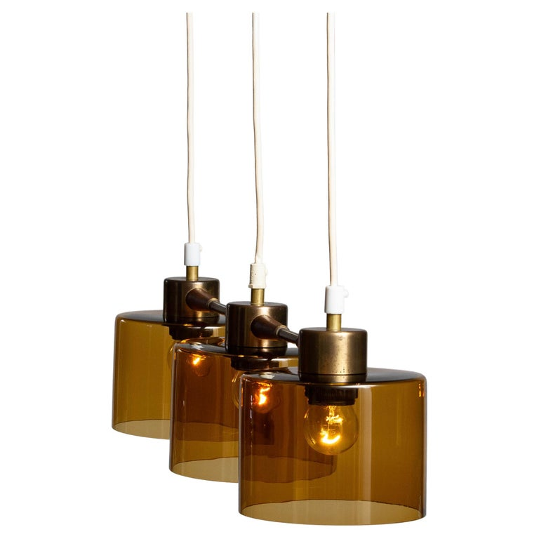 1960's Pendant with Amber Glass Shades by Carl Fagerlund for Orrefors Sweden For Sale