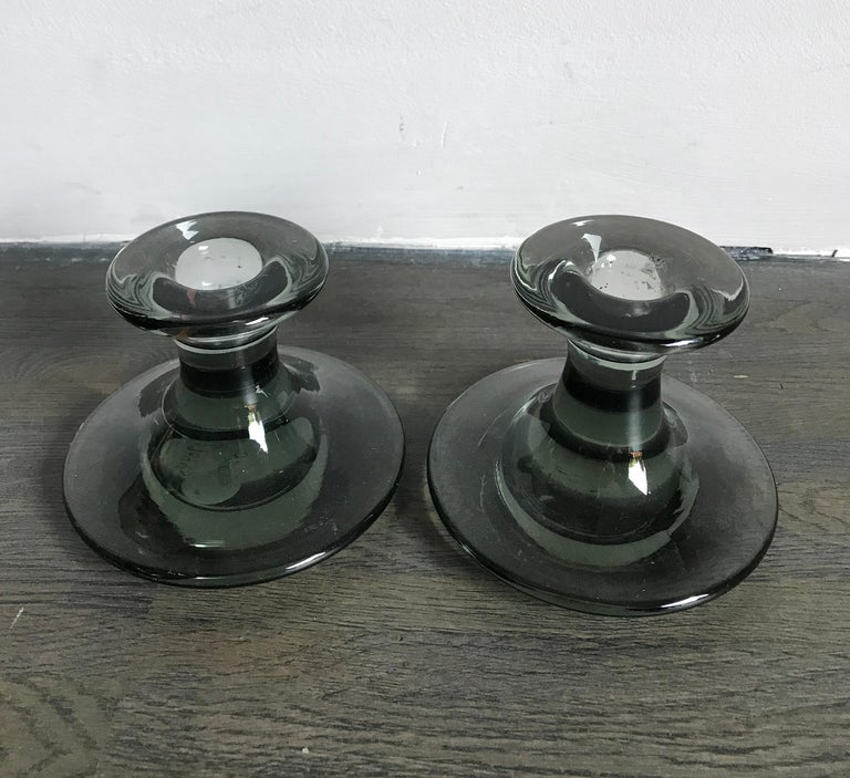 1960s Per Lutken Scandinavian Midcentury Glass Candlesticks for Holmegaard In Excellent Condition For Sale In Modena, IT