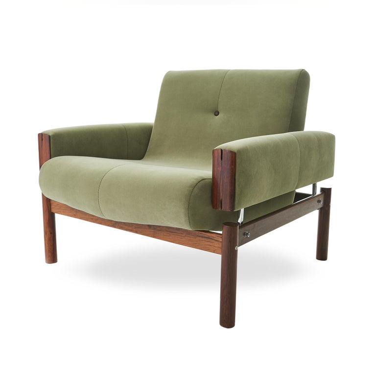 Brazilian 1960s Percival Lafer MP-13 Rosewood Lounge Chair Pair For Sale