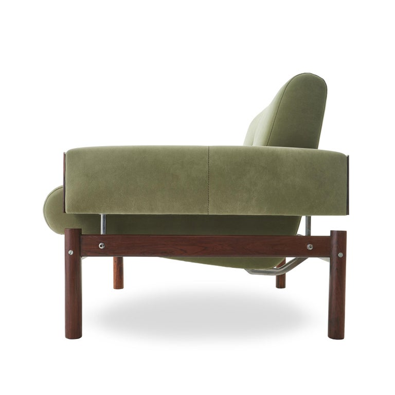 Ultrasuede 1960s Percival Lafer MP-13 Rosewood Lounge Chair Pair For Sale