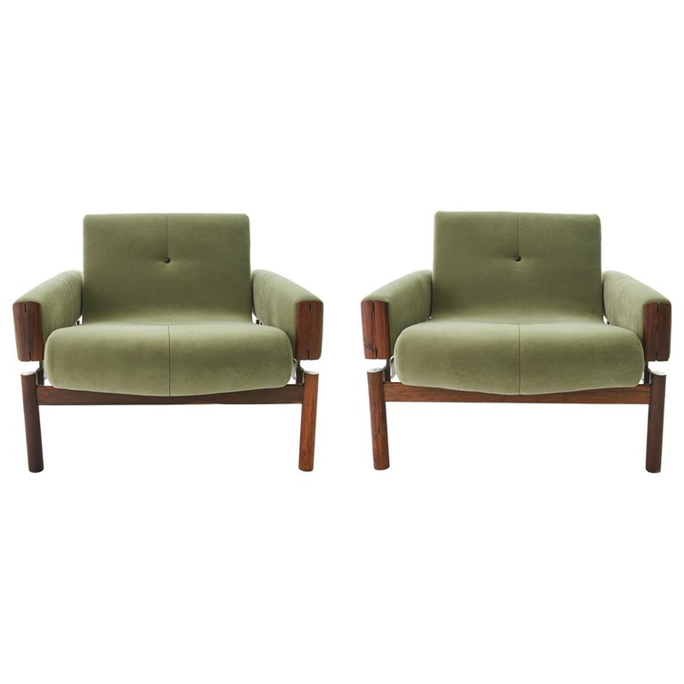 1960s Percival Lafer MP-13 Rosewood Lounge Chair Pair For Sale