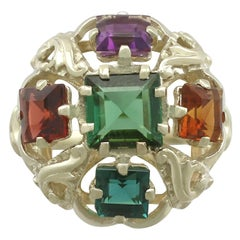 1960s Peridot, Citrine, Garnet, Amethyst, Tourmaline and Yellow Gold Ring