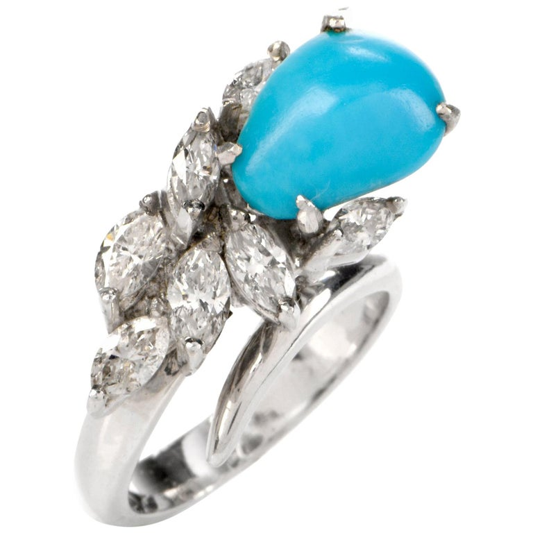 1960s Persian Turquoise Diamond Botanical Gold Cocktail Ring For Sale